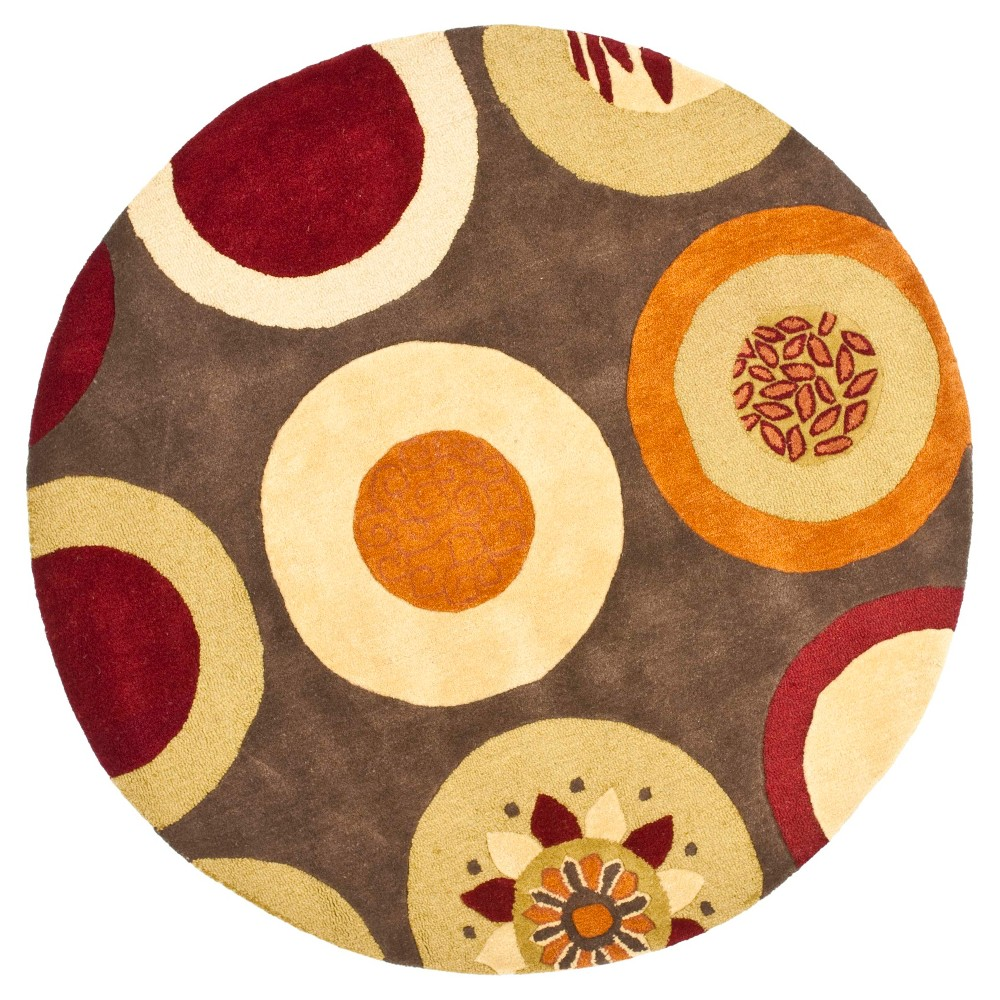 Brown/Multi Abstract Tufted Round Area Rug - (6' Round) - Safavieh