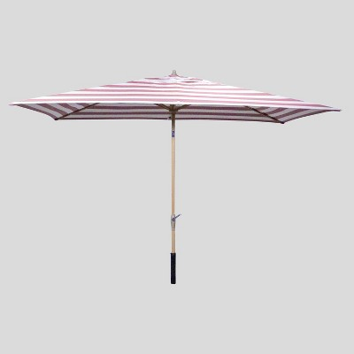 10' x 6' Rectangular Cabana Stripe Patio Umbrella - Light Wood Pole - Threshold™