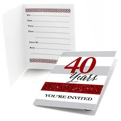 Big Dot of Happiness We Still Do - 40th Wedding Anniversary - Fill In Anniversary Party Invitations (8 count)