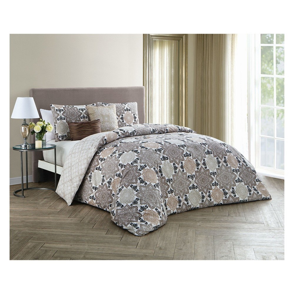 Image of 5pc Queen Greer Comforter Set Taupe - Avondale Manor, Brown