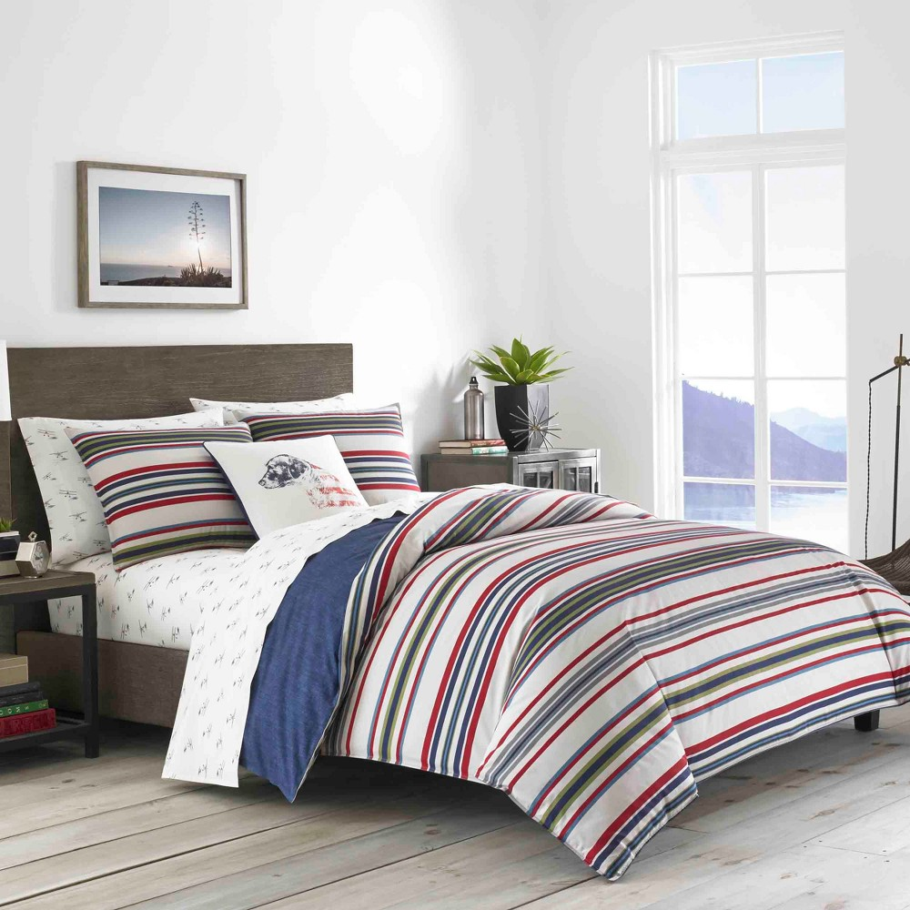 Full/Queen Navy Brewster Stripe Comforter Set - Eddie Bauer, Blue