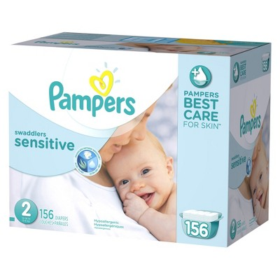 Pampers Swaddlers Sensitive Diapers Economy Plus Pack Size 2 (156 Count)