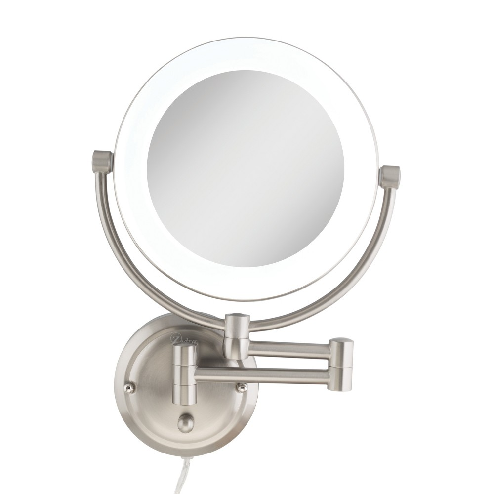 Image of Zadro Fluorescent Lighted Wall-Mount Mirror, Infinity Dimmer, 10X / 1X Power - Satin Nickel