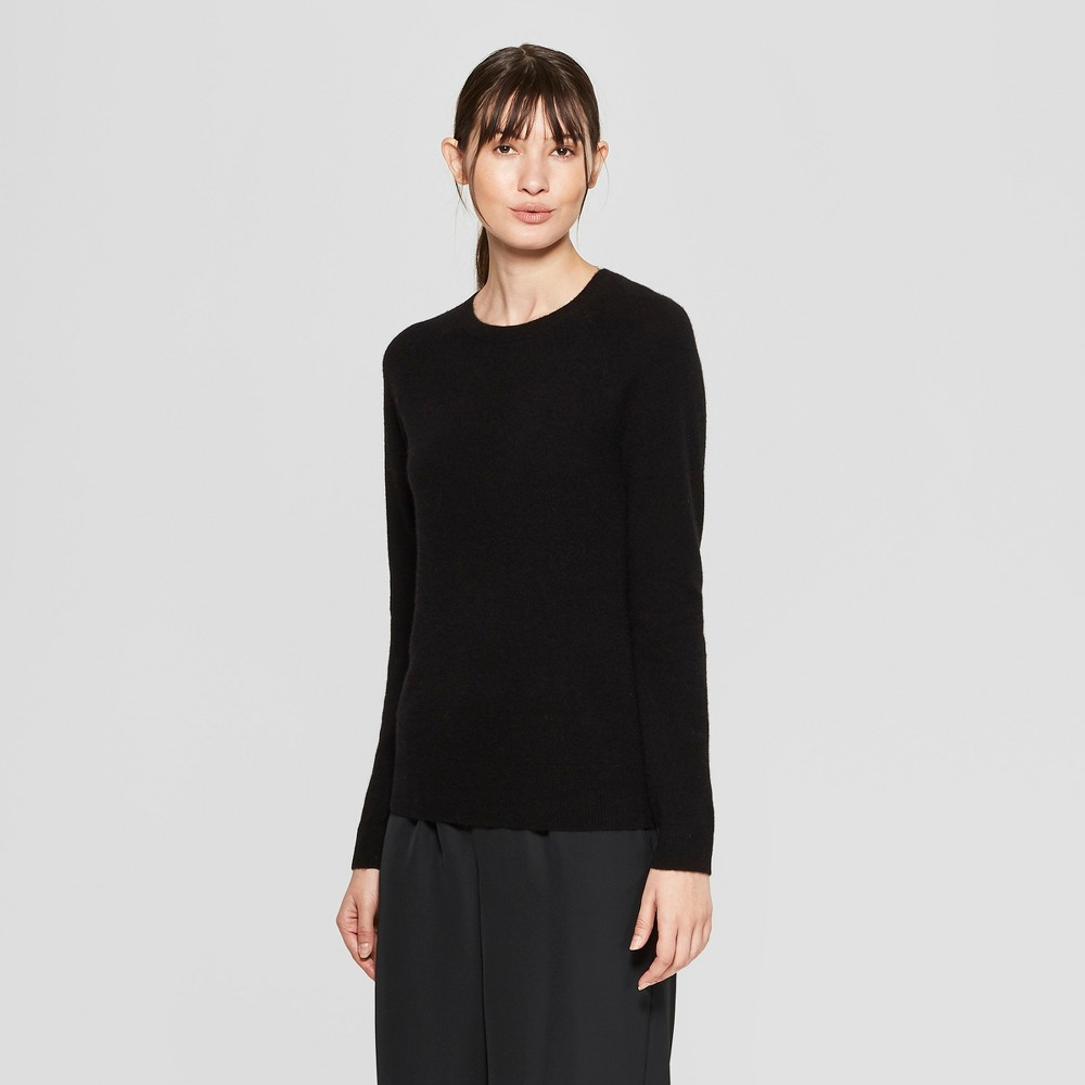 Women's Long Sleeve Crew Neck Cashmere Pullover Sweater - Prologue Black S