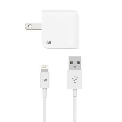 Just Wireless 2.4A/12W 1-Port USB-A Wall Charger with 5ft TPU Lightning to USB-A Cable