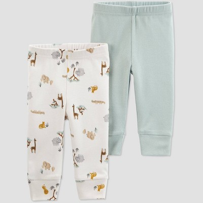 Baby 2pk Safari Pull-On Pants - Just One You® made by carter's Green/Gray 3M