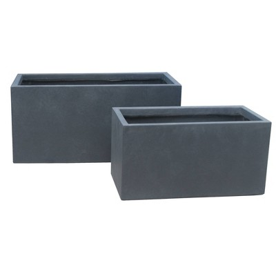 "31"" Set of 2 Kante Lightweight Concrete Modern Long Low Granite Outdoor Rectangular Planter - Rosemead Home & Garden, Inc"