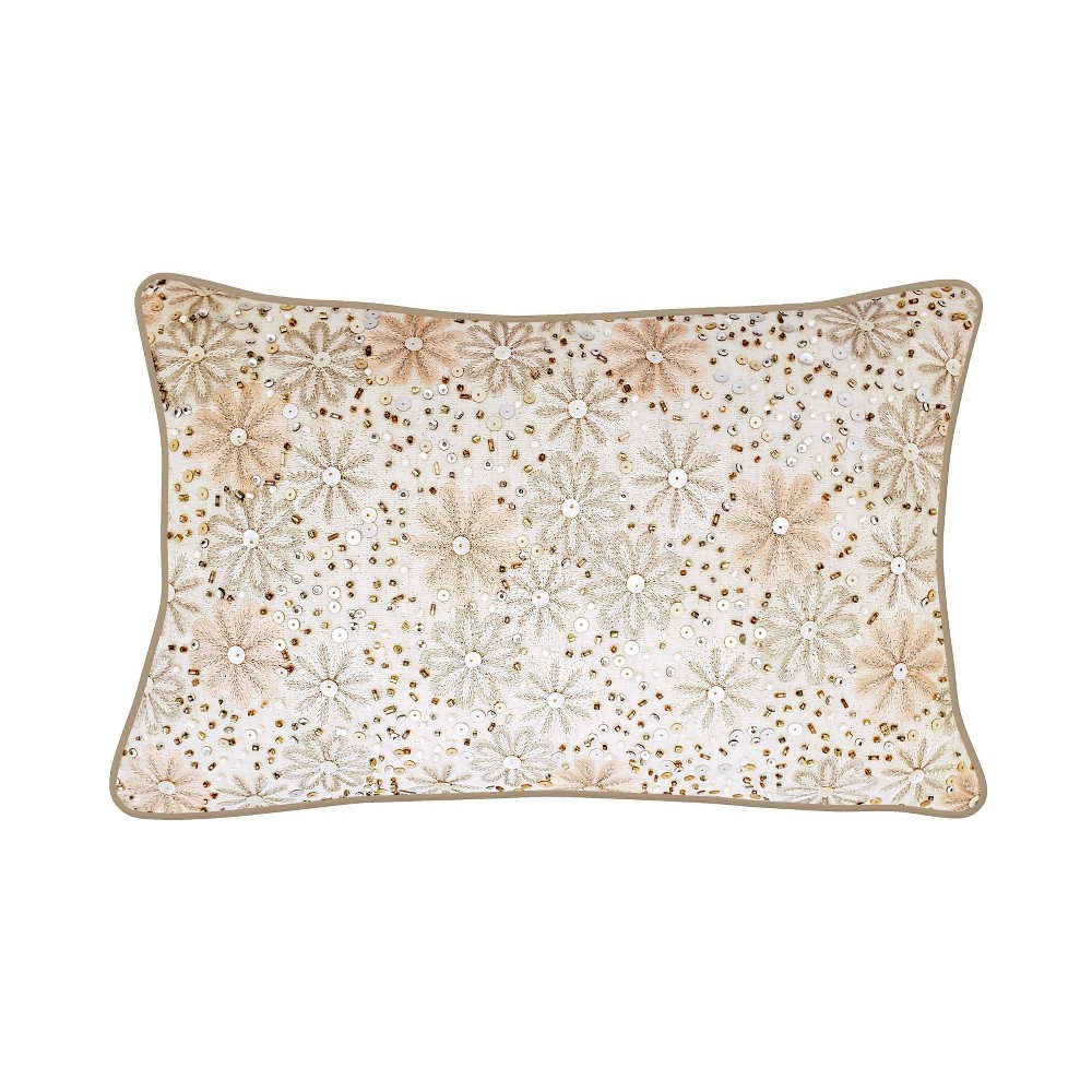"""Image of """"13""""""""x20"""""""" Celebrations Metallic Floral Lumbar Pillow Oyster/Pink - Edie@Home, White Pink"""""""