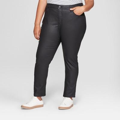 Women's Plus Size Coated Skinny Jeans - Universal Thread™ Black