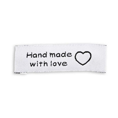 200 Pack Made with Love Sewing Labels Tags for Handmade Items Clothes Quilts Sewing Crafts Projects Christmas Holiday Gifts, 0.6 x 2 inches