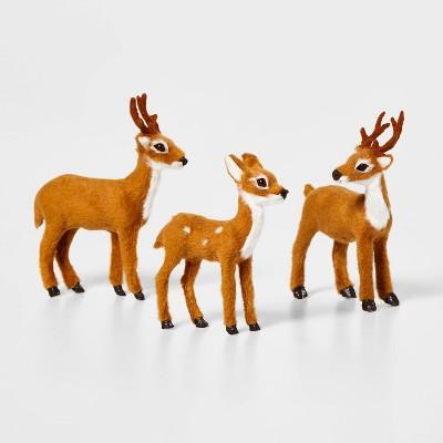 3ct Faux Fur Deer Set Decorative Figurines Brown - Wondershop™