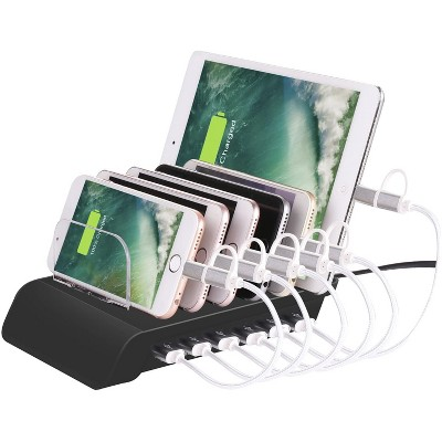 Wasserstein 6 Port USB Charging Station Dock for iPhone, iPad, Android Phones and Tablets with Lightning, Micro USB and USB Type-C Cables
