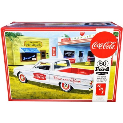 """Skill 3 Model Kit 1960 Ford Ranchero with Vintage Ice Chest and Two Bottle Crates """"Coca-Cola"""" 1/25 Scale Model by AMT"""