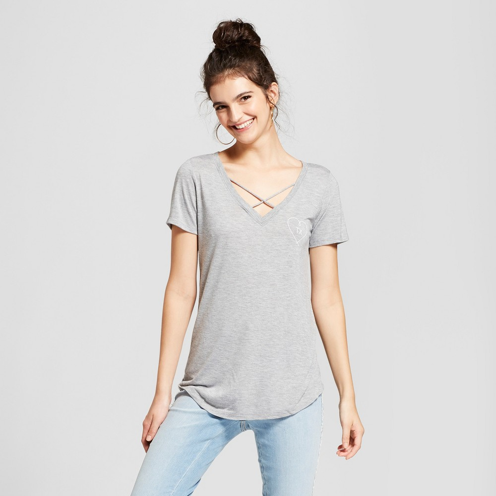 Women's Texas Heart Short Sleeve Cross Front Drapey Graphic T-Shirt - Awake Gray L