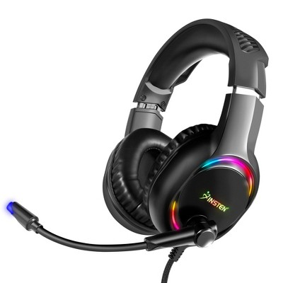 Insten Gaming Headset with Microphone - 3.5mm Wired Headphones & Headsets for PS4, PS5, PC, Xbox Series X/S/One Controller, Nintendo Switch, Black