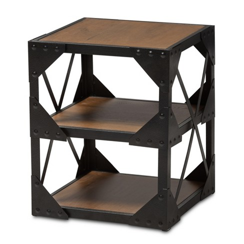 hudson rustic industrial style antique textured finished metal and distressed wood occasional side table brown black baxton studio - Antique Side Tables