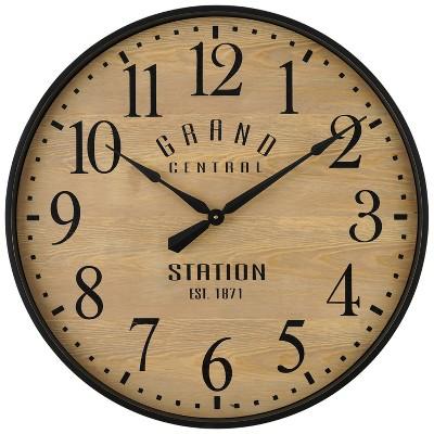 "26"" Grand Central Station Wall Clock Tan/Black - Threshold™"