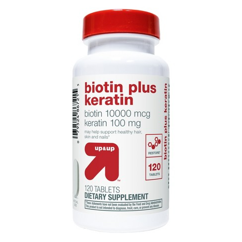 Biotin with Keratin Dietary Supplement Tablets - 120ct - Up&Up™ - image 1 of 2