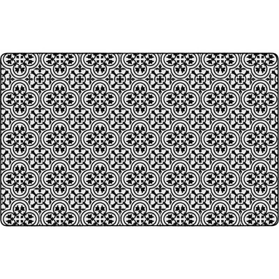 """7'6""""x11' Rectangle Indoor and Outdoor Tiles Nylon Accent Rug Black - Flagship Carpets"""