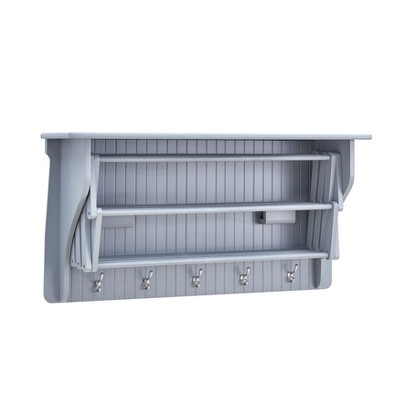 """36"""" x 18"""" Wall Shelf with Collapsible Drying Rack and Hooks Gray - Danya B."""