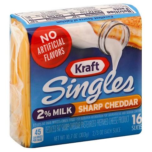 Kraft Singles Sharp Cheddar Cheese 2 Milk Reduced Fat