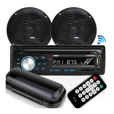 Pyle PLCDBT75MRB Single DIN Marine Bluetooth Receiver Stereo System and CD Player with 6.5 Inch Waterproof Speaker Pair and Remote Control, Black