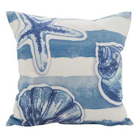 "Saro Lifestyle 18""x18"" Sea Star Watercolor Down Filled Throw Pillow Blue - image 1 of 2"