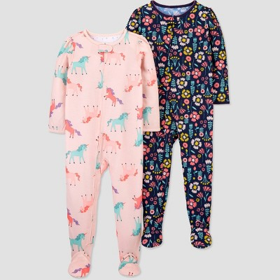 Baby Girls' 2pk Unicorn Footed Pajama - Just One You® made by carter's Pink 9M