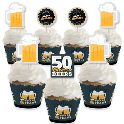 Big Dot of Happiness Cheers and Beers to 50 Years - Cupcake Decoration - 50th Birthday Party Cupcake Wrappers and Treat Picks Kit - Set of 24