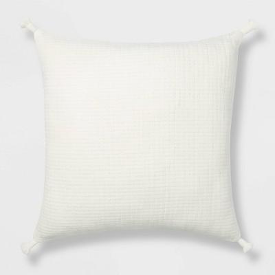Euro Soft Texture Tasseled Throw Pillow Cream - Project 62™