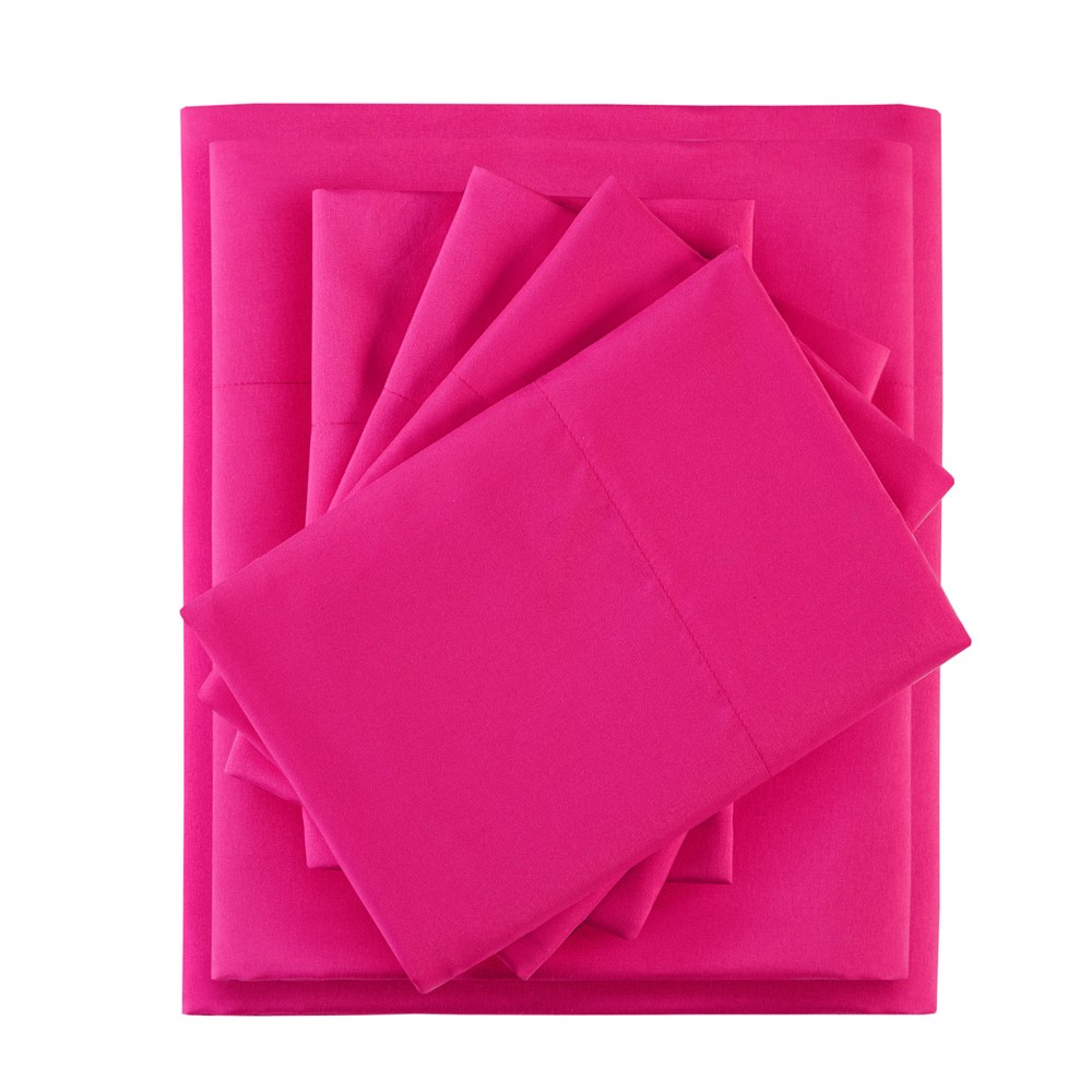 Twin XL 4pc Microfiber Sheet Set with Side Storage Pockets Pink