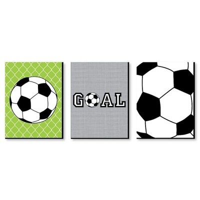 Big Dot of Happiness Goaaal - Soccer - Sports Themed Wall Art and Kids Room Decorations - Gift Ideas - 7.5 x 10 inches - Set of 3 Prints
