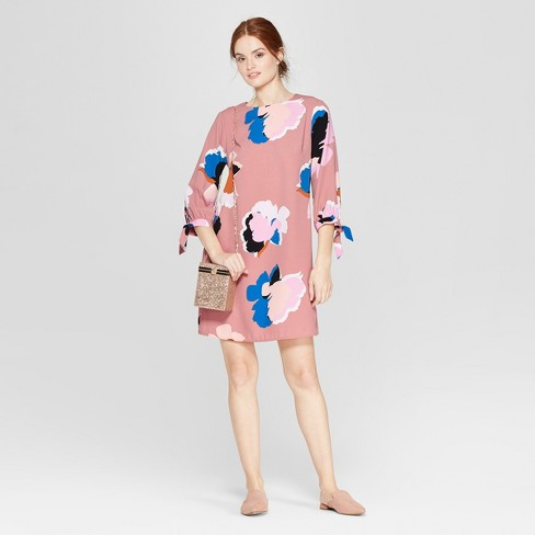 Women's Floral Print Long Sleeve Crepe Dress - A New Day™ Pink - image 1 of 3