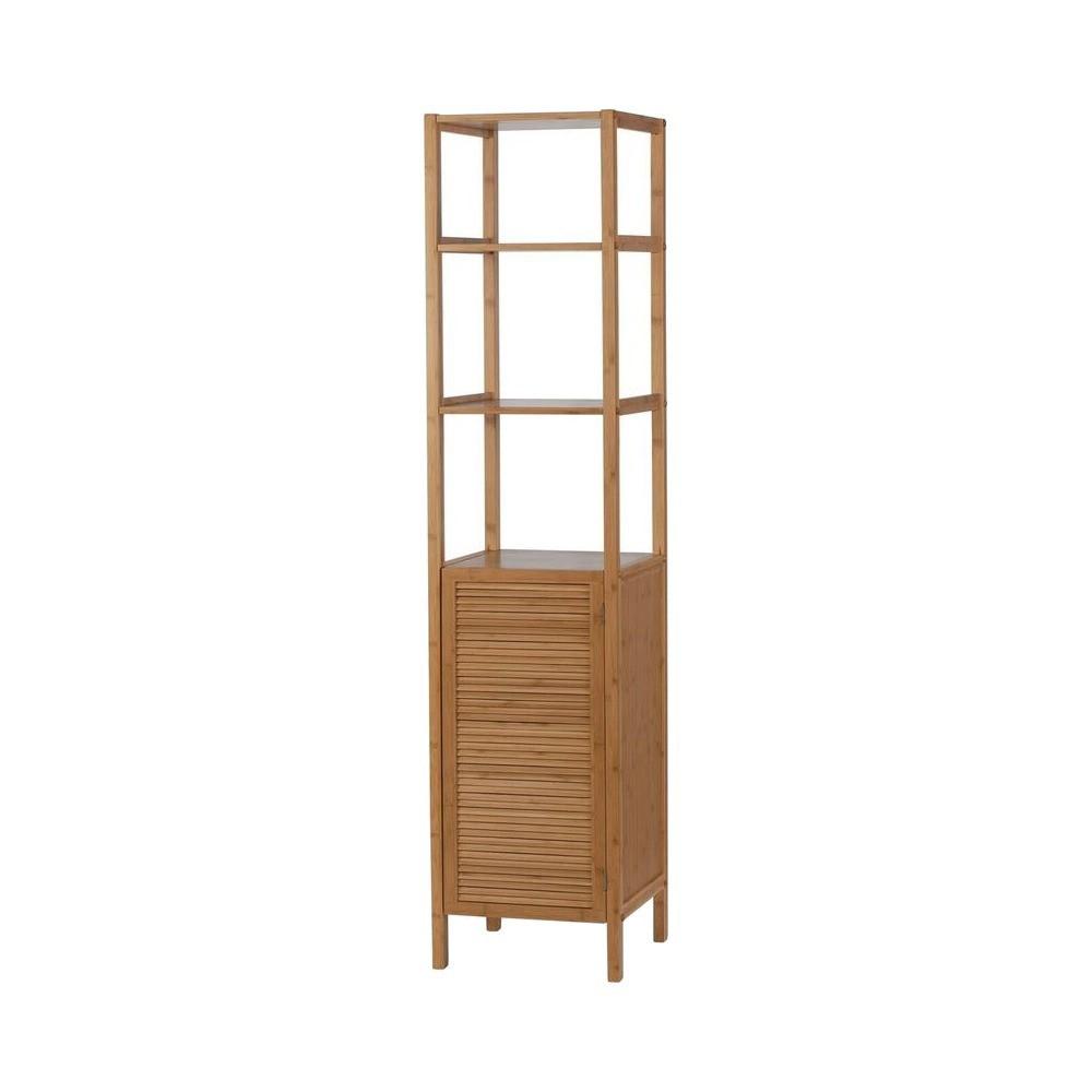 Image of 1 Door 4 Shelf Slimline tower Light Brown Bamboo - Eco Styles