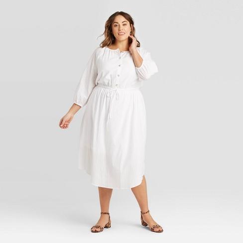 Women's Plus Size Long Sleeve Gauze Button-Front Dress - Ava & Viv™ - image 1 of 3
