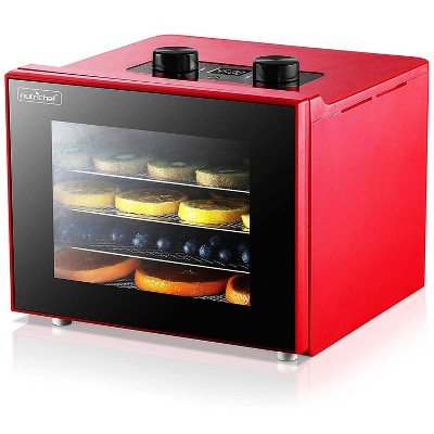 NutriChef Premium Electric Countertop Food Dehydrator Dryer Machine w/ 4 Shelves and LED Timer for Beef Jerky, Meats, Fruits,  and Vegetables, Red
