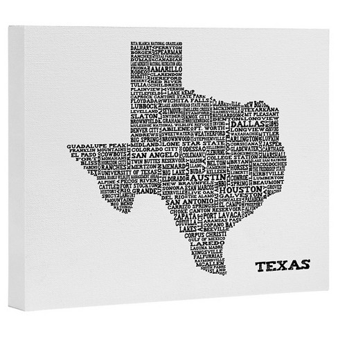 Restudio Designs Texas Map Art Canvas by Deny Designs - image 1 of 1