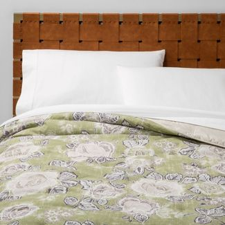 Full/Queen Printed Quilt Sage Floral - Opalhouse™