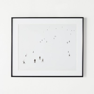 """24"""" x 20"""" Winter Skiers Framed Wall Art White/Black - Threshold™ designed with Studio McGee"""