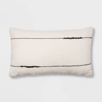 Embroidered Thin Line Lumbar Throw Pillow Black/Cream - Project 62™