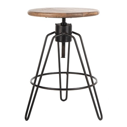 Kai Adjustable Swivel Counter Stool Natural Honey/Black - Safavieh - image 1 of 4