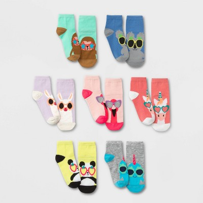 Girls' 7pk Ankle Critter Shades Socks - Cat & Jack™ Colors May Vary