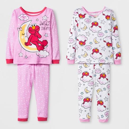e12c67d62c Baby Girls  Sesame Street 4pc Pajama Set - Pink   Target