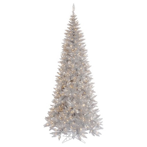 4 5ft Pre Lit Artificial Christmas Tree Silver Tinsel Slim Clear Lights
