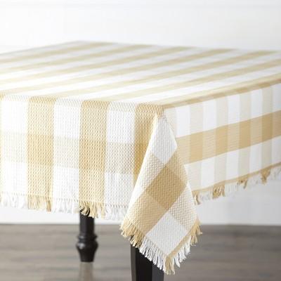 Lakeside Farmhouse Plaid Cotton Tablecloth with Frayed Edges
