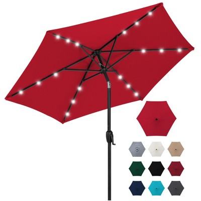Best Choice Products 7.5ft Outdoor Solar Patio Umbrella for Deck	Pool w/ Tilt	Crank	LED Lights