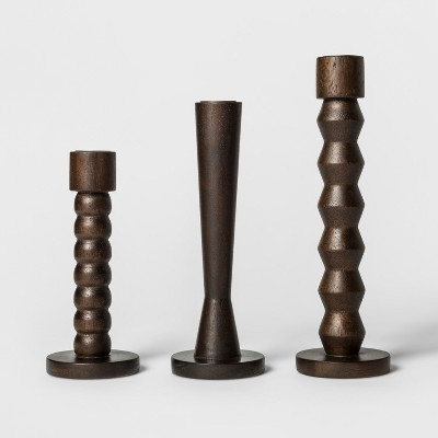 Wooden Candle Holder Set of 3 - Dark Brown - Project 62™