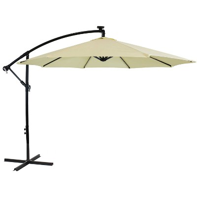 Sunnydaze Outdoor Steel Cantilever Offset Patio Umbrella with Solar LED Lights, Air Vent, Crank, and Base - 9' - Pale Buttercup