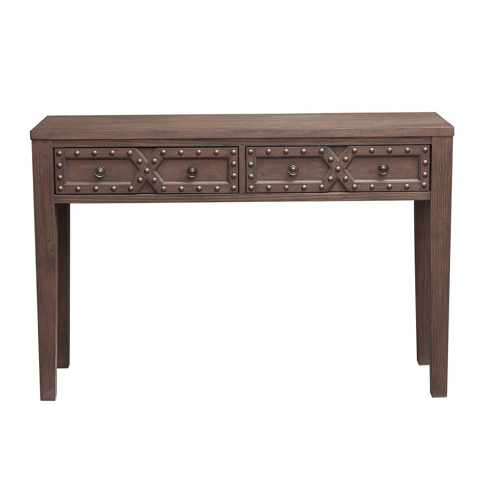 Traditional Wire Brushed Distressed Acacia Two Door Accent Storage Console Table - Brown - Pulaski