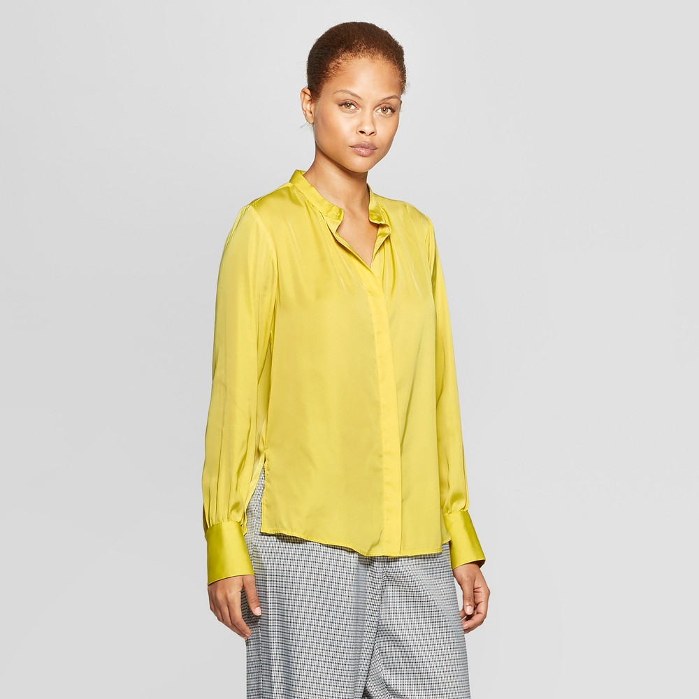 Women's Long Sleeve Collared Woven Blouse - Prologue Yellow L